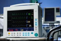 Anesthesia monitor description close-up Stock Photos