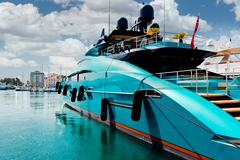 Luxury yacht in port le vieux.  cannes, france Stock Photos