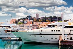 View of le suquet- the old town and port le vieux of cannes, france Stock Photos