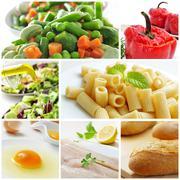 Mediterranean diet collage Stock Photos