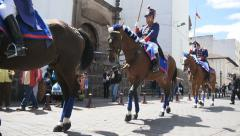 Ecuador horses start parade Stock Footage