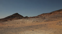 Panoramic view on a volcanic mountain in the Black Desert, Egypt - stock footage
