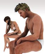 Sexual problems between Unhappy couple partners Stock Illustration