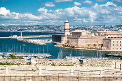 view of fort saint nicholas in marseille, france - stock photo