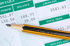 report with monthly wage - stock photo