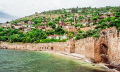 view of the kizil kule (red tower). alanya, turkey - stock photo