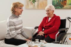 conversation of elderly women - stock photo