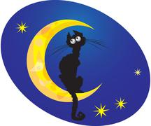 Cat on moon Stock Illustration
