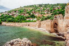 View of the kizil kule (red tower). alanya, turkey Stock Photos