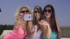SLOW MOTION: Attractive women taking selfies Stock Footage