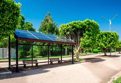 Eco-friendly solar bus stop Stock Photos