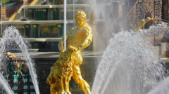 Famous petergof Samson fountain in St. Petersburg Russia Stock Footage