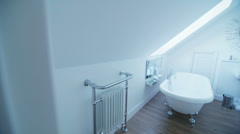 Interior view of bathroom in a stylish beachside home. No people. - stock footage
