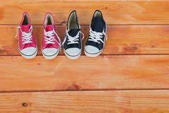 basket ball shoes at the floor - stock photo