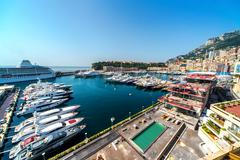 view of monaco harbor - stock photo