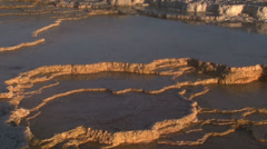 Mammoth hot-springs at sunrise Stock Footage