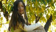 Stock Video Footage of Cute Asian Girl Climbs A Tree