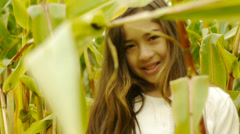 Adorable Young Girl Standing In A Corn Field Stock Footage