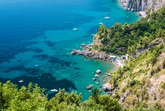 Stock Photo of via nastro azzurro, amalfi coast. stunning landscape with hills and mediterra
