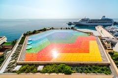 colorful helipad in monaco - stock photo