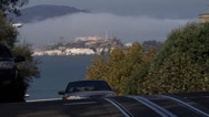 Stock Video Footage of The famous streets of San Francisco with Alcatraz Island in the background