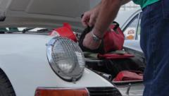 Porsche 911 classic 1963 the company's first model auto-show, click for HD - stock footage