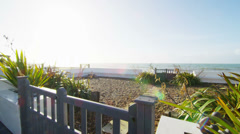 View of the ocean as seen from beachside home. No people. - stock footage