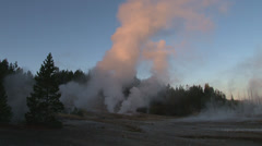 Geysers at sunrise Stock Footage