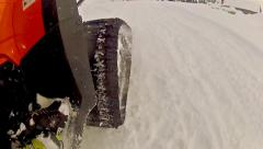 Close view at motor sled on the snow Stock Footage