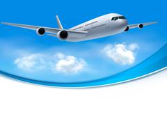 travel background with airplane and white clouds - stock illustration