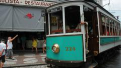 Stock Video Footage of Brazilian Heritage Tramway System, city tour of Santos, Sao Paulo, Brazil.