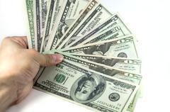 all stack type of american dollars - stock photo
