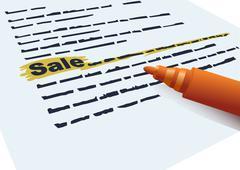 "inscription ""sale"" and marker - stock illustration"