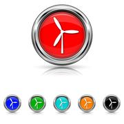 Windmill icon - six colours set Stock Illustration