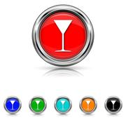 Stock Illustration of martini glass icon - six colours set