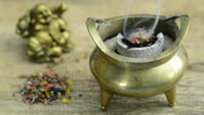 Stock Video Footage of Smoking incense pot