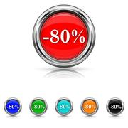 Stock Illustration of 80 percent discount icon - six colours set