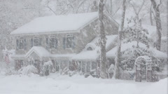 Stock Video Footage of Snowy Colonial Home