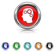 Stock Illustration of brain icon - six colours set