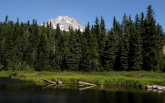 Mount Hood Rises Above Forest and Lake Stock Photos