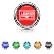 Breaking news icon - six colours set Stock Illustration