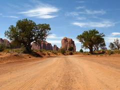Desert Dirt Road Monument Valley - stock photo