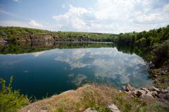 View to the blue lake Stock Photos