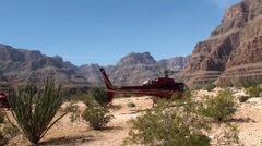 Takeoff the tourist Helicopter from the Grand Canyon - stock footage