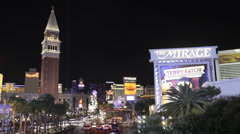 Time lapse of the Las Vegas strip and Mirage and Venetian Casinos at night - stock footage