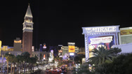 Stock Video Footage of Time lapse of the Las Vegas strip and Mirage and Venetian Casinos at night
