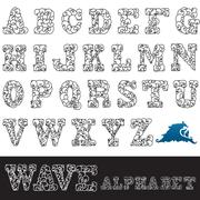 Hand drawn decorative alphabet letters with waves, design element Stock Illustration