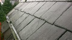 Raining on a Victorian slate roof Stock Footage