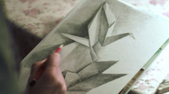 Drawing origami crane and dove Stock Footage