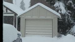 Winter garage. - stock footage